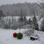 Blick auf den Wiesenweg in Greifenhain im Winter