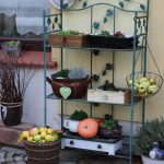 Gartenregal dekoriert